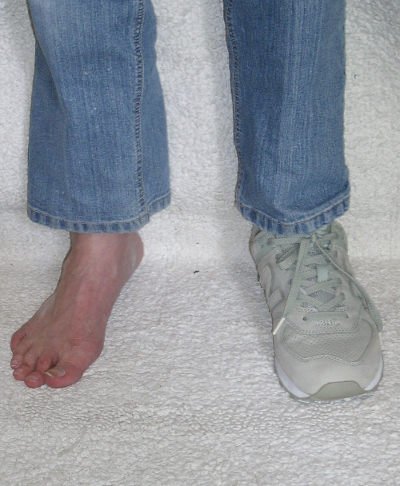 A shoe over a sock